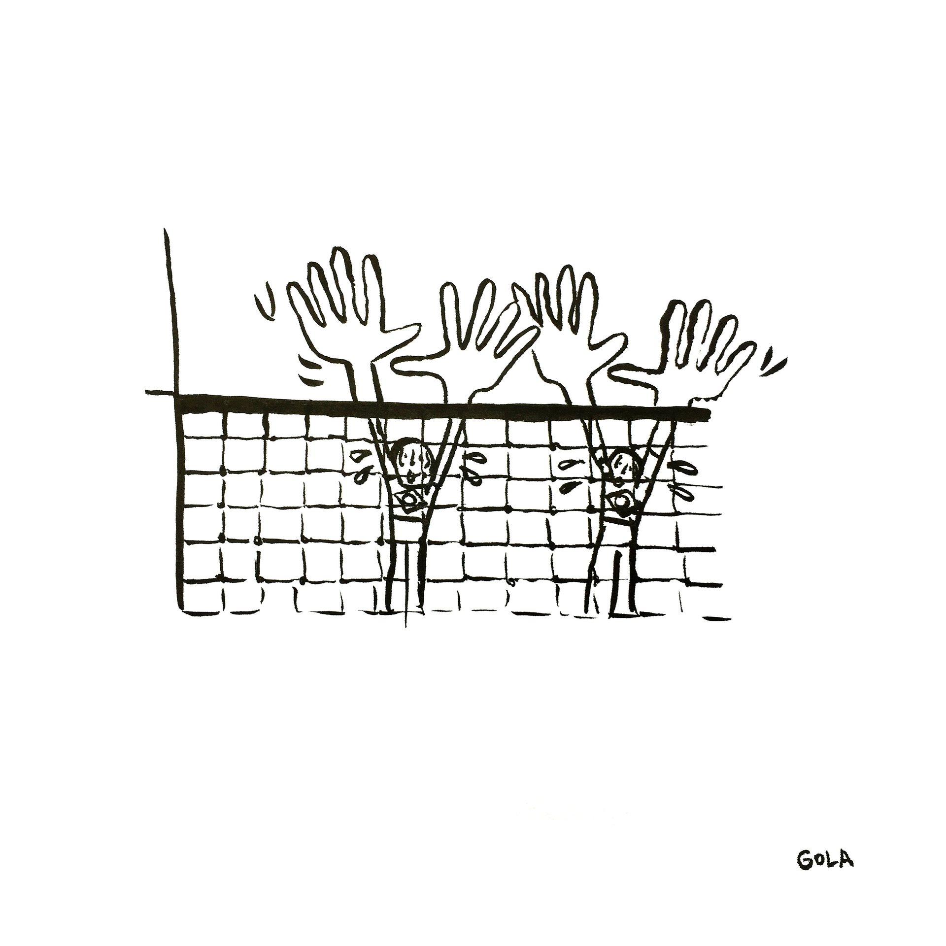 La defensa Brasileña en volleyball playa_Los Juegos Olímpicos visto por el artista brasileño André Gola FeelCurioso