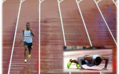 El atleta Isaac Makwala corrió solo a pesar del escándalo por impedirle correr en la serie de 200 metros
