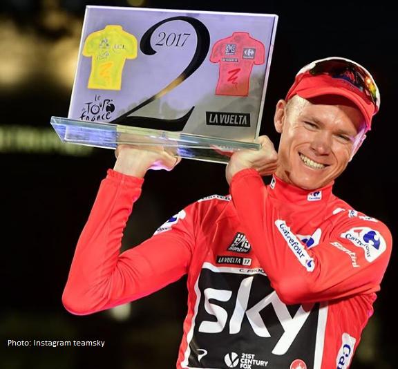 Chris Froome en el Podio de la Vuelta a España 2017 , sky vuelta , skyteam cycling , team sky pro cycling , cris froome
